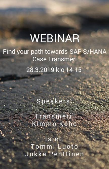 WEBINAR 28.3.2019: Find your path towards S/4HANA